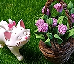 고양이, 꽃바구니 2종 세트 (가든데코)|