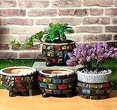 수제화분 모자이크(4color)|Handmade Flower pot