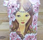 소향수제분 소녀와꽃(엔틱빈티지/삼면그림)|Handmade Flower pot