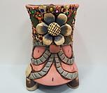 꽃이다공방 환원수제화분 꽃과리본(큐빅분) #2317 Handmade Flower pot