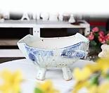 대형- 대박나는 구유(블루 흘림) - 최고급 수제 화분  예쁜화분 다육화분 베란다화분 개업화분 특이한화분 선물화분 토어도예-TL-타원형 2-1L