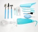 다육이 식물 분갈이 도구 세트 고급형 15종 핑크 블루 원예 가드닝