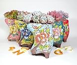 빈티지 꽃 화분 6개 세트 화분망 이름표 포함 다육 식물 원예