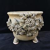큰사이즈,꽃조각최고급국산수제화분-4104|Handmade Flower pot