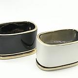 105타원형 골드 블랙/화이트 소품 화분 20×12×11.5|