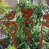 삽위의 새들 - 정원철제장식, 예쁜정원만들기, 마당 잔디 화단 꾸미기, 빈티지 소품 