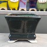 녹색 사각 중형 수제화분 다육이화분|Handmade Flower pot