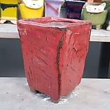 빨강색 직사각 수제화분 다육이화분|Handmade Flower pot