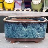 진청색 직사각 수제화분 다육이화분|Handmade Flower pot
