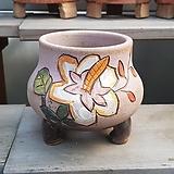 무광 꽃그림 수제화분 다육이화분3|Handmade Flower pot