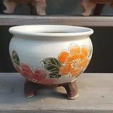 주황 꽃그림 수제화분 다육이화분|Handmade Flower pot