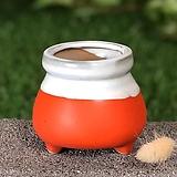 수제화분 미니원분2(오렌지)|Handmade Flower pot