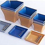 컬러 인테리어 사각 플라스틱화분 화분받침 포함 플분|