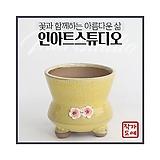 봄빛정원 허리 나팔 꽃잎(옐로우) - 최고급 수제 화분 작가도예-YM-중형-원형|