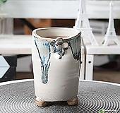 수제 화분 - TM - 중형 - 꽃잎 움푹이 흘림(블루)|Handmade Flower pot