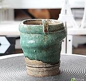 수제 화분 - TM - 중형 - 리본 모양 원형(그린)|Handmade Flower pot