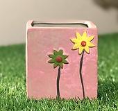 수제화분 들꽃사각(핑크) Handmade Flower pot